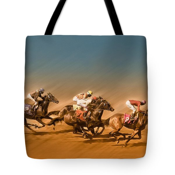 Horses Racing To The Finish Line Tote Bag