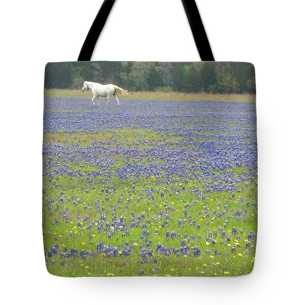 Horses Running In Field Of Bluebonnets Tote Bag