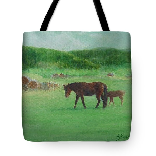 Horses Rural Pasture Western Landscape Original Oil Colorful Art Oregon Artist K. Joann Russell Tote Bag