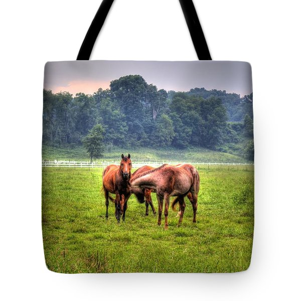 Horses Socialize Tote Bag