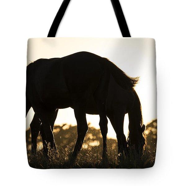 Horses Sunset Tote Bag by Michael Mogensen