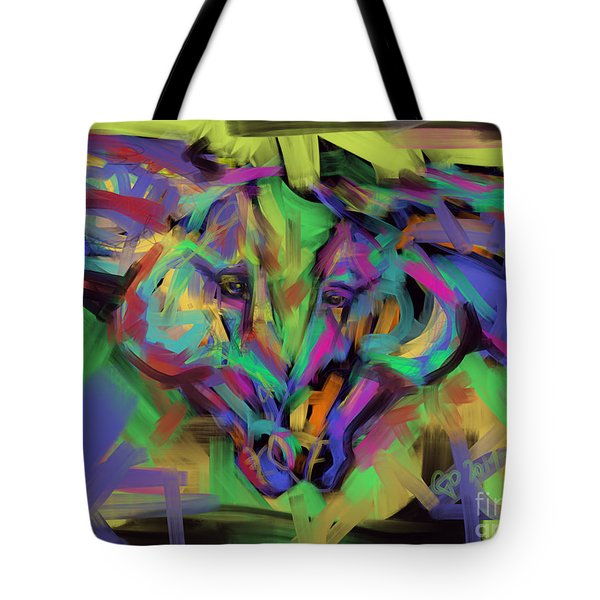 Tote Bag featuring the painting Horses Together In Colour by Go Van Kampen