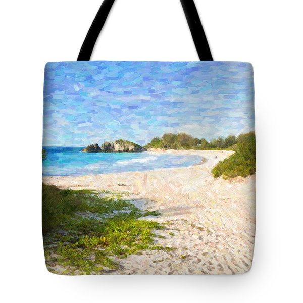 Tote Bag featuring the photograph Horseshoe Bay In Bermuda by Verena Matthew