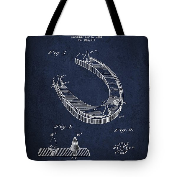 Horseshoe Patent Drawing From 1881 Tote Bag by Aged Pixel