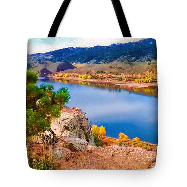 Horsetooth Lake Overlook Tote Bag by Jon Burch Photography