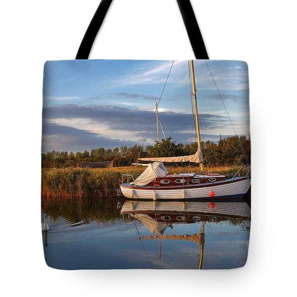 Horsey Mere In Evening Light Tote Bag by Louise Heusinkveld