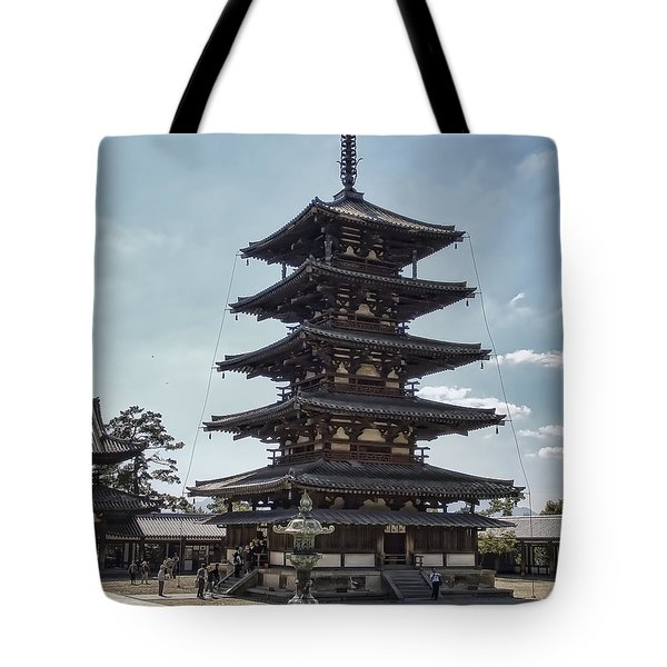 Horyu-ji Temple Pagoda - Nara Japan Tote Bag by Daniel Hagerman