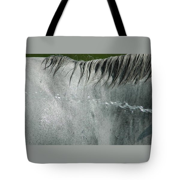 Cooling Down White Horse Tote Bag