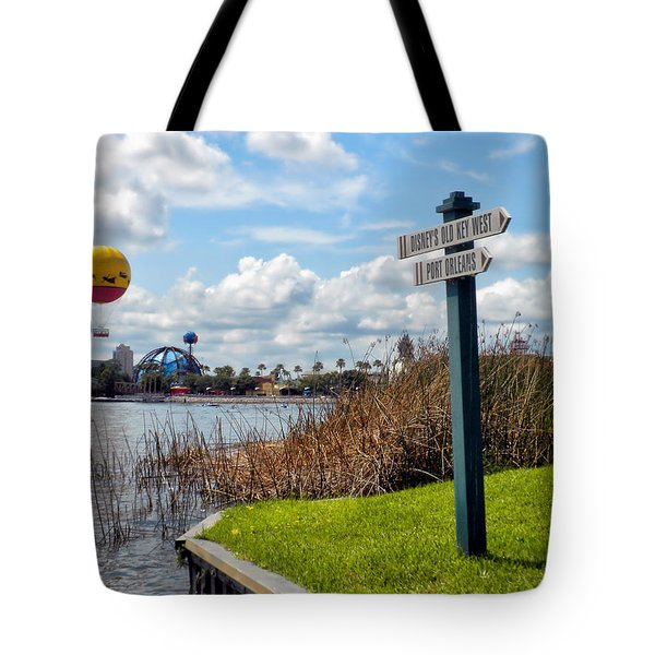 Hot Air Balloon And Old Key West Port Orleans Signage Disney World Tote Bag by Thomas Woolworth