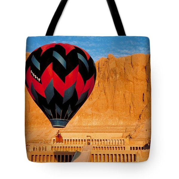 Hot Air Balloon Over Thebes Temple Tote Bag by John G Ross