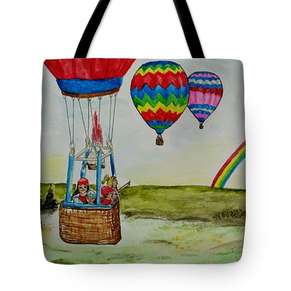Hot Air Balloon Rainbow Tote Bag
