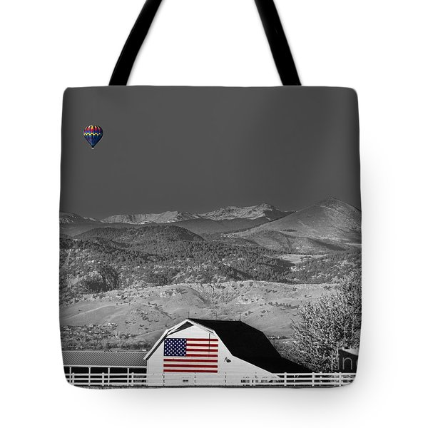 Hot Air Balloon With Usa Flag Barn God Bless The Usa Bwsc Tote Bag by James BO  Insogna