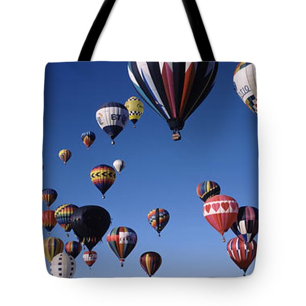 Hot Air Balloons Floating In Sky Tote Bag by Panoramic Images