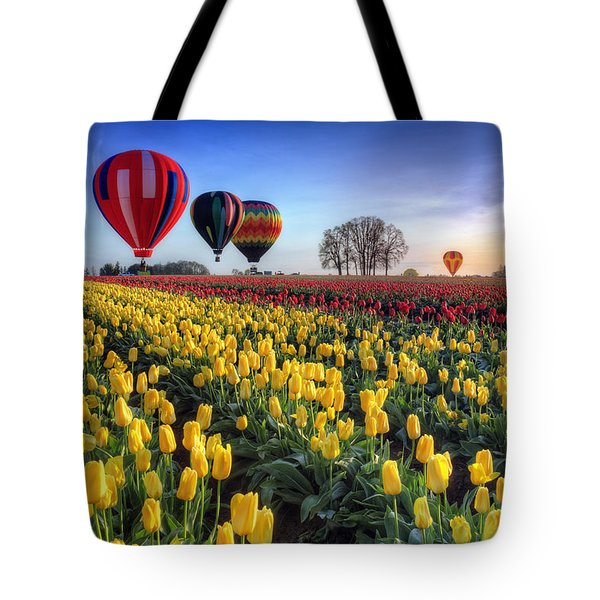 Tote Bag featuring the photograph Hot Air Balloons Over Tulip Fields by William Lee