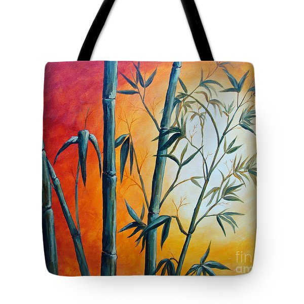 Tote Bag featuring the painting Hot Bamboo Days by Phyllis Howard