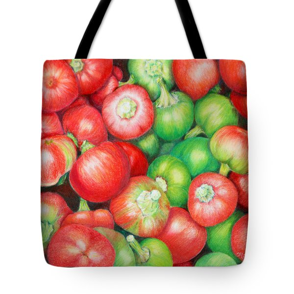 Tote Bag featuring the painting Hot Cherry Peppers by Mariarosa Rockefeller