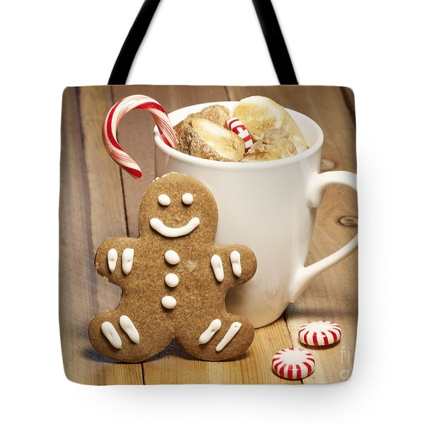 Hot Chocolate Toasted Marshmallows And A Gingerbread Cookie Tote Bag