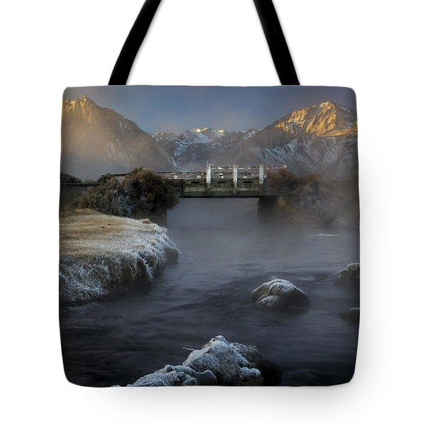 Hot Creek In Winter Tote Bag