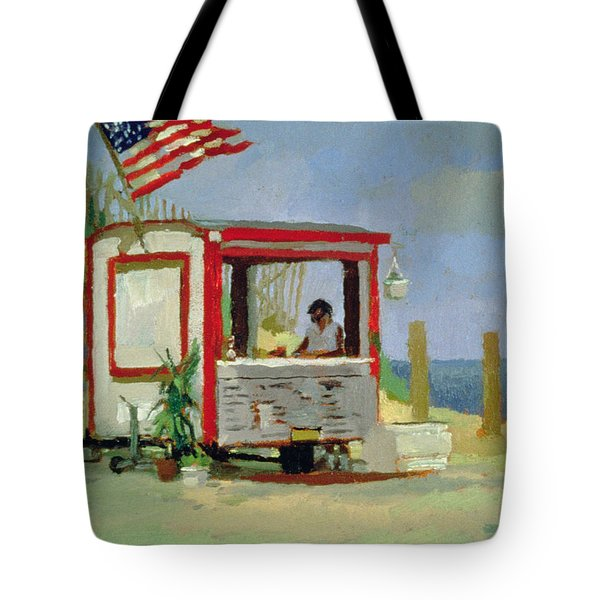 Hot Dog Stand Oil On Canvas Tote Bag