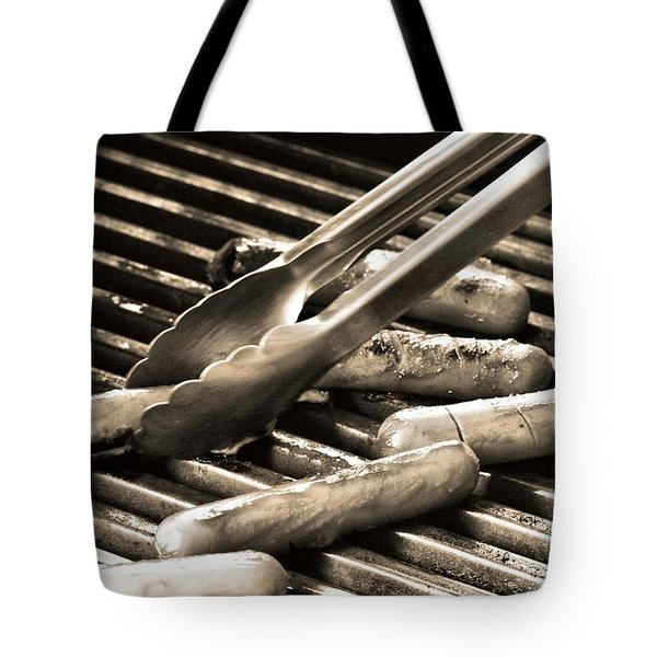 Hot Dogs On The Grill Tote Bag by Dan Sproul