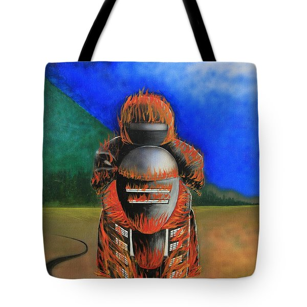 Hot Moto Tote Bag by Tim Mullaney
