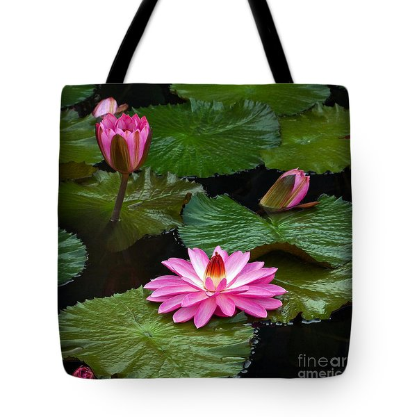 Hot Pink And Green Tropical Waterlilies Tote Bag