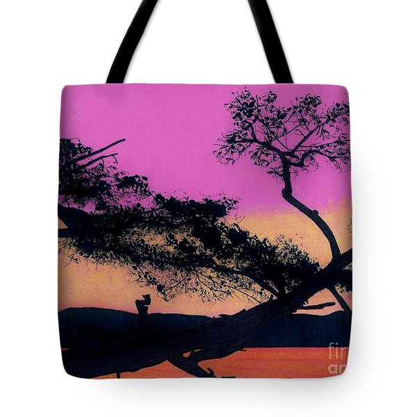 Tote Bag featuring the drawing Hot Pink Sunset by D Hackett