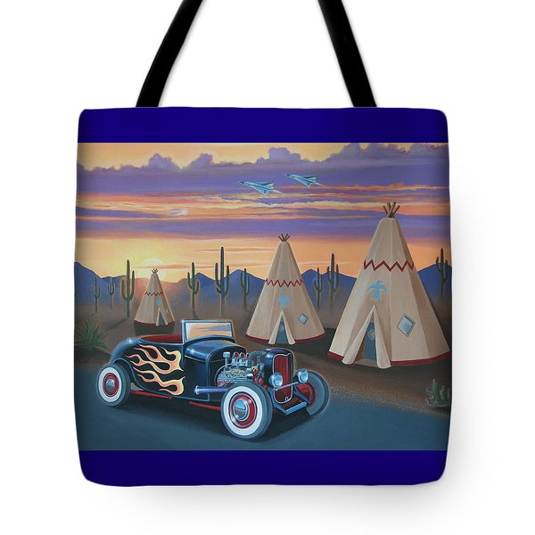 Hot Rod At The Wigwams Tote Bag by Stuart Swartz