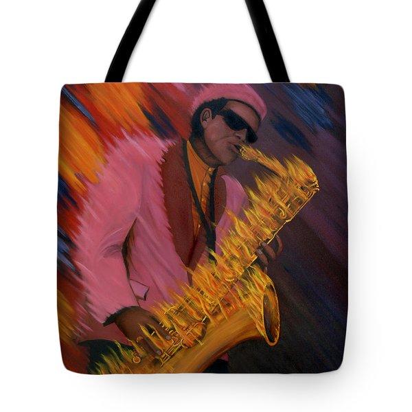 Hot Sax Tote Bag by Jeff McJunkin