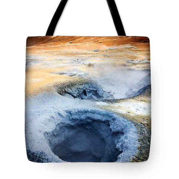 Tote Bag featuring the photograph Hot Springs At Namaskard In Iceland by Peta Thames
