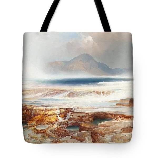 Hot Springs Of Yellowstone Tote Bag by Thomas Moran