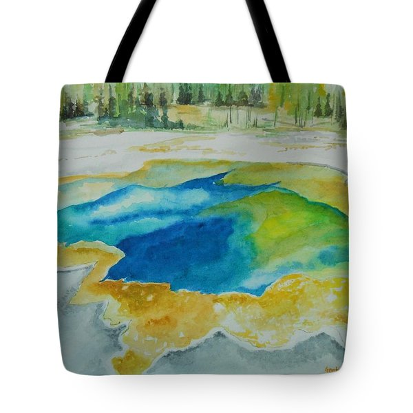 Tote Bag featuring the painting Hot Springs Yellowstone National Park by Geeta Biswas