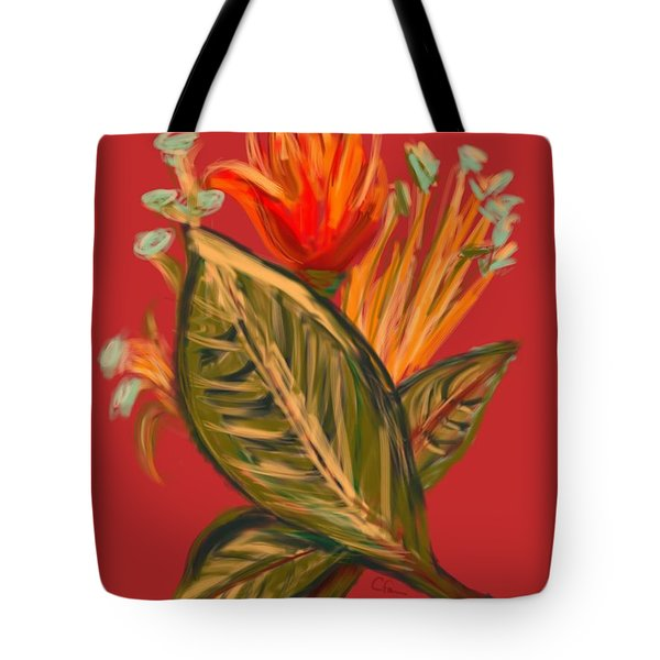 Tote Bag featuring the digital art Hot Tulip L by Christine Fournier