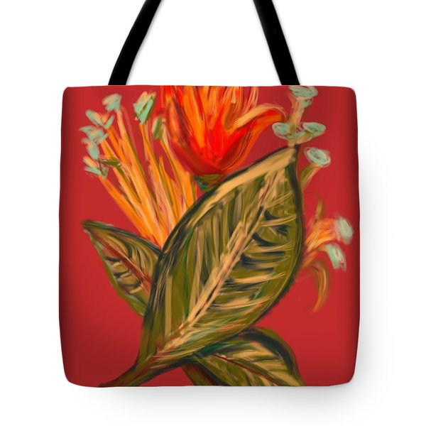 Tote Bag featuring the digital art Hot Tulip R by Christine Fournier