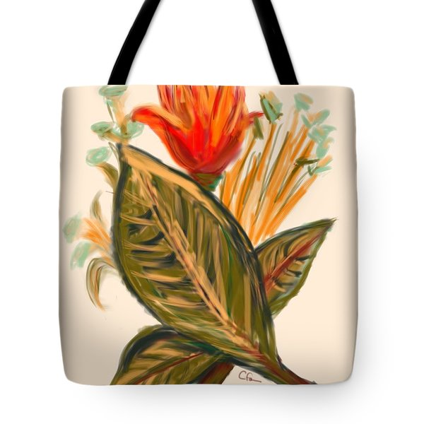 Tote Bag featuring the digital art Hot Tulip Spring by Christine Fournier