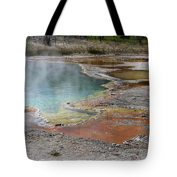 Hot Water At Yellowstone Tote Bag by Laurel Powell