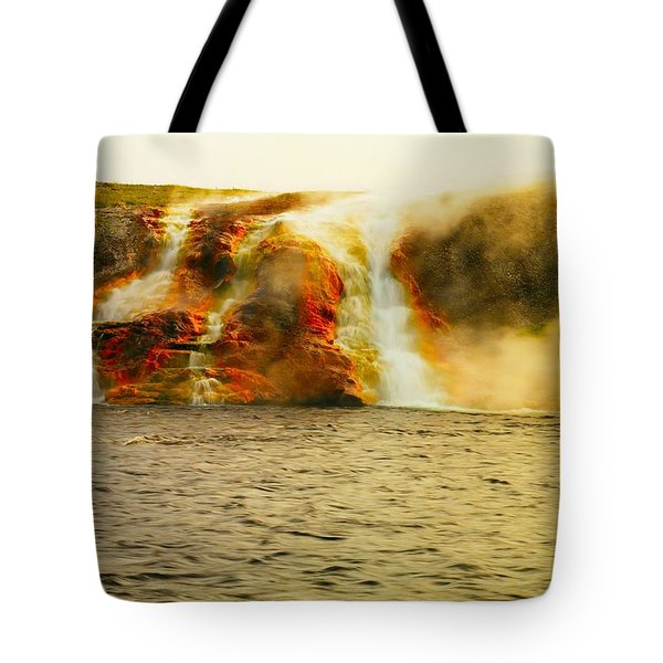 Hot Water Pouring Tote Bag by Jeff Swan