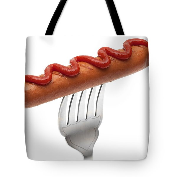 Hotdog Sausage On Fork Tote Bag by Amanda Elwell