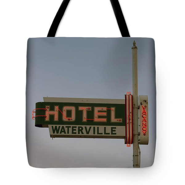 Hotel Waterville Neon Sign Tote Bag