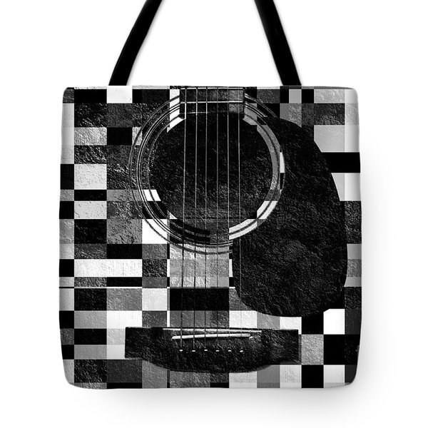 Hour Glass Guitar Random Bw Squares Tote Bag by Andee Design