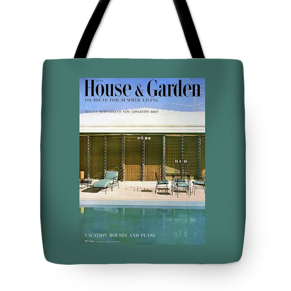 House & Garden Cover Of A Swimming Pool At Miami Tote Bag