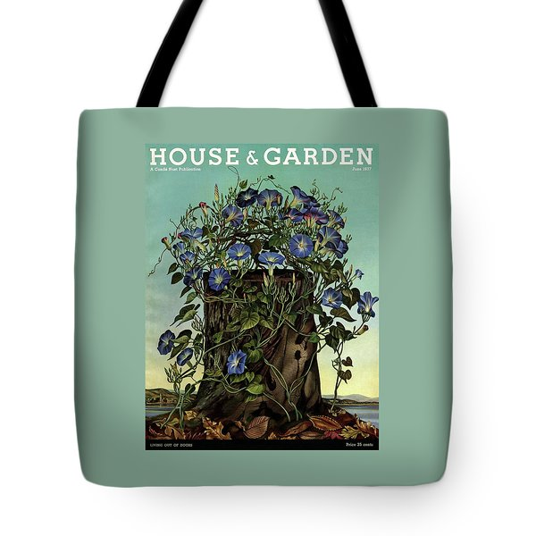 House And Garden Cover Featuring Flowers Growing Tote Bag