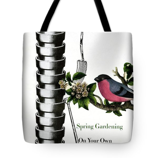 House And Garden Cover Featuring Pots And A Bird Tote Bag
