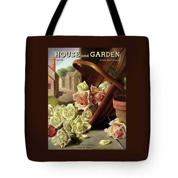 House And Garden Cover Of An Upturned Basket Tote Bag