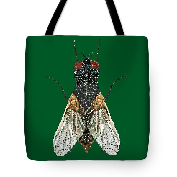 House Fly In Green Tote Bag
