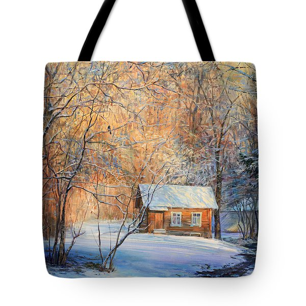 House In The Winter Forest  Tote Bag