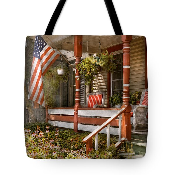 House - Porch - Traditional American Tote Bag by Mike Savad