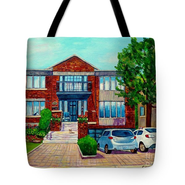 House Portrait-house  Art-commissioned  Montreal Paintings-carole Spandau Tote Bag