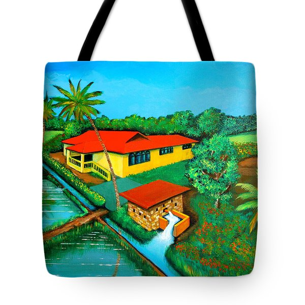 House With A Water Pump Tote Bag