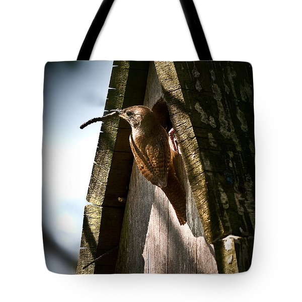 House Wren At Nest Box Tote Bag